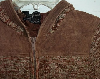 Boho Marled Brown Suede Trimmed Zip Front Hooded Cardigan Sweater Jacket S M B40 Vintage 70s
