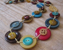 Button Necklace in Teal, Burgundy and Mustard with Stainless Steel - One of a Kind