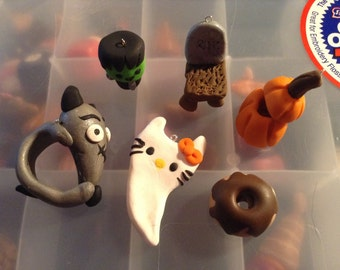 Polymer Clay Halloween set Frankenweinie Ring + More