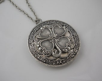 Large Silver  Locket Four Leaf Clover Flower Charm Silver Chain Garden Jewelry Keepsake Memories Floral Gift You Choose Chain Length