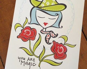 Valentines Day Card, Greeting Card, You are Magic - designed by me