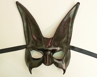 Leather Rabbit Mask in Black elegant but a little dark and just perfect for formal & black tie