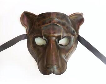 Black Jaguar Leather Mask cat Black Panther Black Leopard