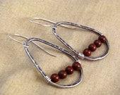 Sterling Silver Oval Mahogany Obsidian Wire Drop Earrings Boho