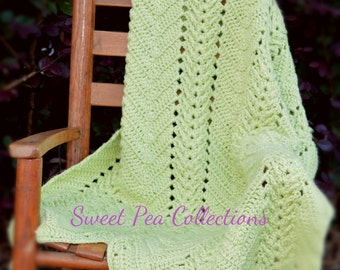 Fern Green Crochet Baby Blanket Ripple Baby Afghan Baby Shower Gift Gender Neutral Travel Blanket Chevron Security Blanket READY TO SHIP