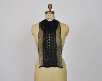 20s dicky / Vintage 1920's Black Mesh Bow Lace Cravat Collar
