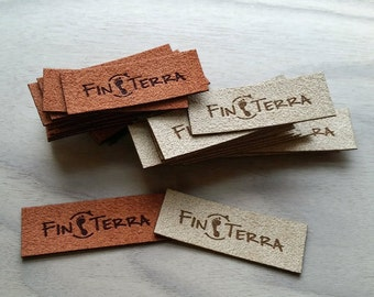 50 custom ultrasuede labels with your engraving, graphics or logos