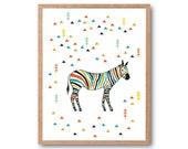 Zebra in the forest art print, Zebra illustration, Zebra Art print, safari animal, safari nursery, Wall art, Forest art, Abstract Art
