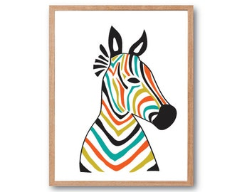 Zebra Head Art Print, Safari animal, Safari nursery, Zebra wall art, Animal Illustration, Safari baby shower, Horse Art print