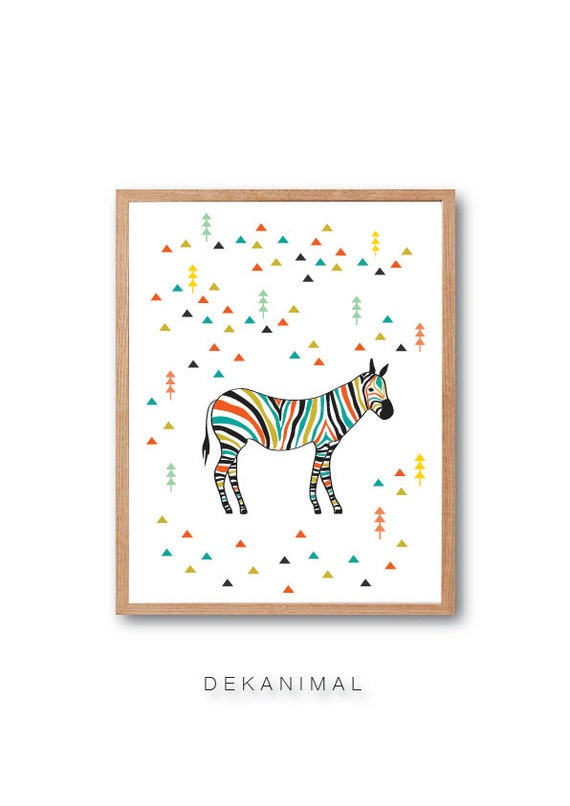 Zebra in the forest art print, Zebra illustration, Zebra Art print, safari animal, safari nursery, Wall art, Forest art, Abstract Art
