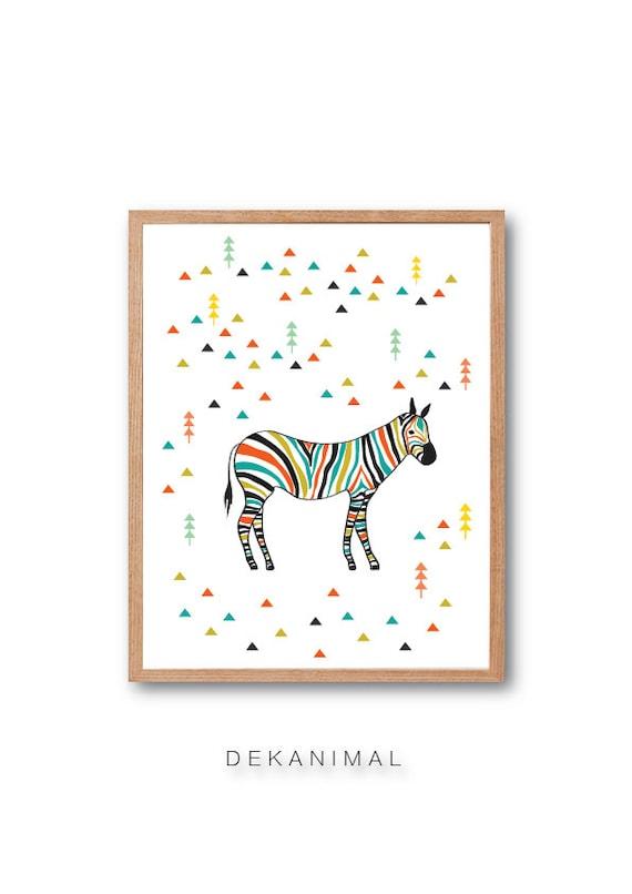 Zebra in the forest Art Print, Zebra Wall Decor, Safari animal, Safari nursery, Horse Art Print, Zebra illustration, Wall art