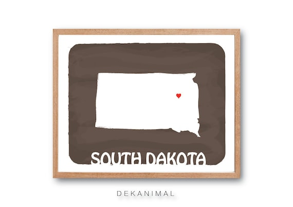 South Dakota Map - Cappuccino - Personalized Custom Color Watercolor Style Love Wedding Birthday Anniversary GIft Children Kids poster