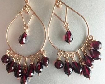 Christmas Garnet Earrings, Merlot Rhodolite Garnet Chandeliers in Rose Gold, Sterling Silver or 14K Gold Vermeil