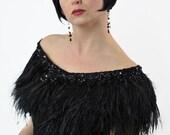 Promo Sale Black Swan inspiration: Ostrich Feather Wrap adorned with Swarovski crystal