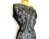 1960s Goddess Dress One Shoulder Black Evening Gown with Silver Metallic Brocade / Bombshell Dress / Single Shoulder Dress