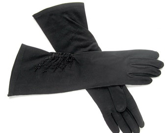 Vintage Gloves in Black with Gathered Beaded Decoration / Shalimar Gloves / Size 6.5