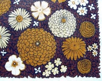 Vintage Linen Tea Towel in Brown and Harvest Gold Floral Design / Natural Linen