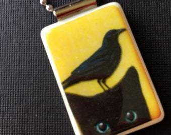 Pendant, Reclaimed, Mahjong, Crow, Black Cat, Raven, Necklace, Jewelry