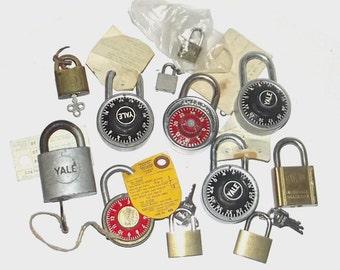 1960s locks / vintage 60s home decor / Antique Box of Padlocks