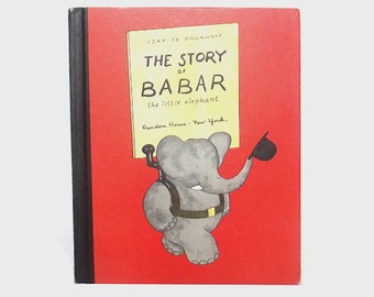 1960s Babar book / 60s children's book / The Story of Babar the Little Elephant Storybook