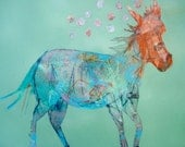 EMERY original painting horse 'this horse reflects northern lights and modern dance' art brut  outsider expressionism,