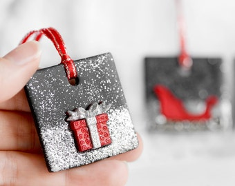 Christmas Ornaments with Rudolph Reindeer Santa's Sleigh Christmas Gift with Silver Glitter. Handmade Clay Christmas Holiday Gift Set of 3
