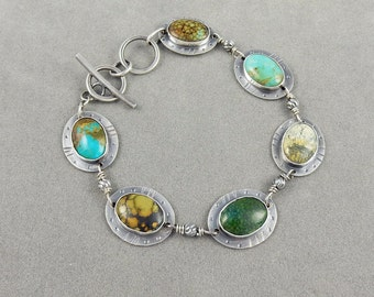 Handmade Silver and Turquoise Bracelet - Artisan Jewelry - Designer Jewelry - Large