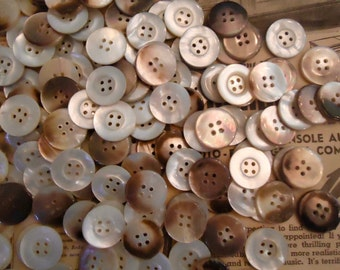 """Mother of Pearl vintage MOP buttons-150 antique 7/8"""" 4 hole donut rim multi tone USA"""