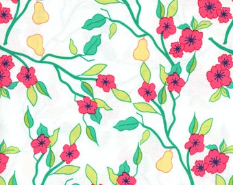 Moda Acreage 45502 11 Floral Pears On White By The Yard