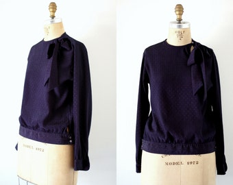 Vintage Navy Blouse with Bow at Neck