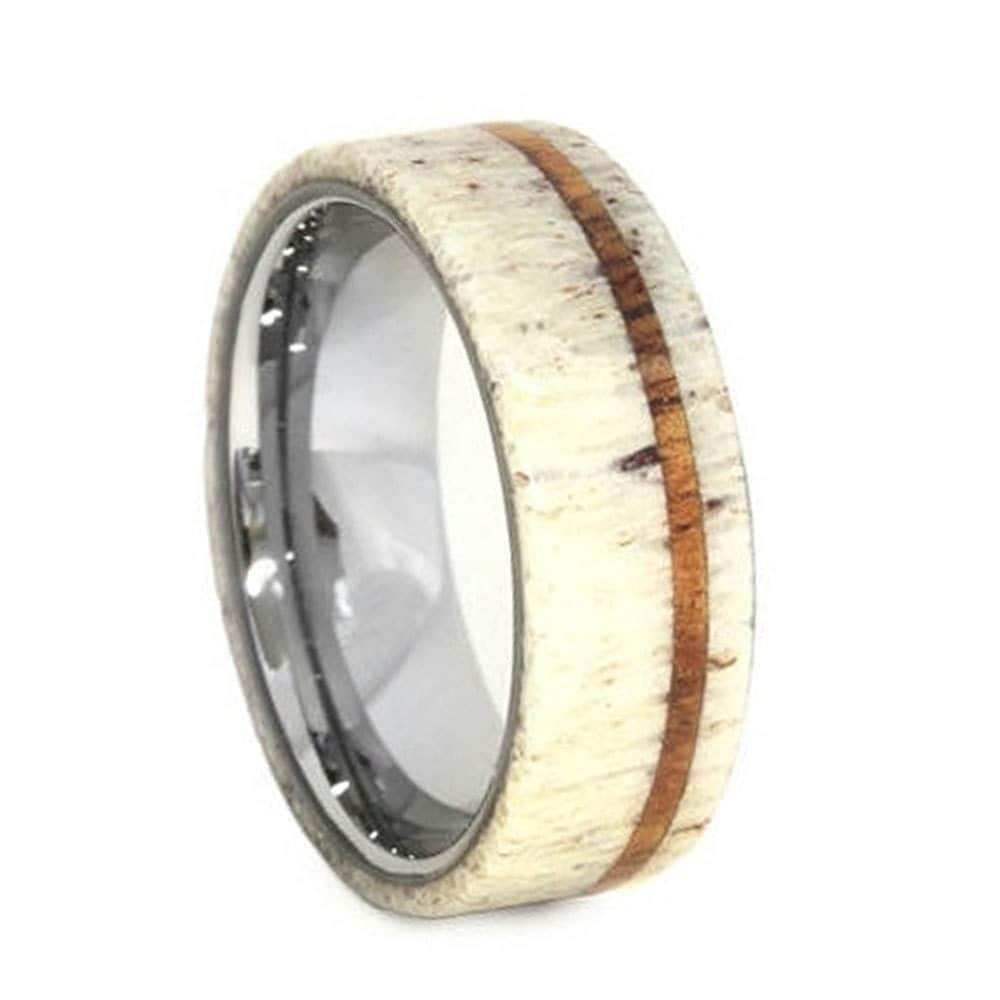 deer antler wedding band wood ring titanium ring by