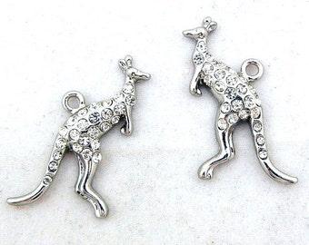 Pair of Silver-tone Kangaroo Charms with Rhinestones