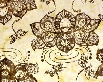 NEW - One half-yard - Cream Lotus Flower Batik - 9155