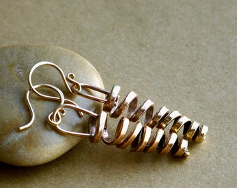 Rustic Spiral Twisted Thick Hammered Shiny Brass Dangle Earrings . Rustic Style Jewley