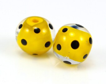 Lampwork Pair for Earrings, Artisan Beads, Yellow and Black, Donna Trull, SRA, Handmade Glass Beads