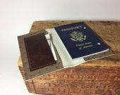 Textured brown leather passport cover by Bindingb Bee