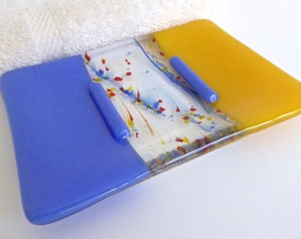 Fused Glass Soap Dish in Yellow and Cobalt Blue