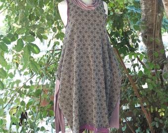 Dress - Pandora - Grey - Black - Lilac contrast -  Lycra Brocade - Wild Couture Dress