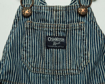 Vintage 1980's-  1990's Classic Osh Kosh B'gosh Railroad Train Engineer Overalls 12 Months Blue and White Stripes