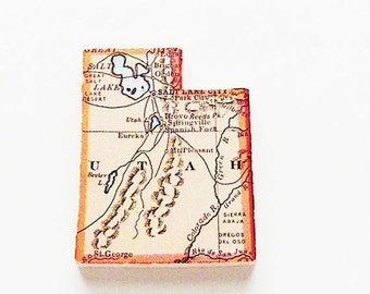 Utah Brooch Pin / Unique Wearable History Gift Idea / Upcycled Antique 1915 Wood Puzzle Piece / Timeless Gift Under 50