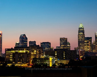 Charlotte Skyline Dusk, landscape photography, wall art decor, Available in color or Black and White.