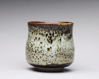 handmade espresso cup, ceramic sake cup, pottery teacup with green celadon, black tenmoku and white glazes