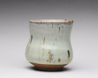 handmade pottery cup, tea cup, yunomi, sake cup, espresso cup with creamy white wood ash glazes