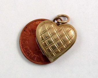 Vintage Gold Filled Heart Locket Pendant, Check Pattern
