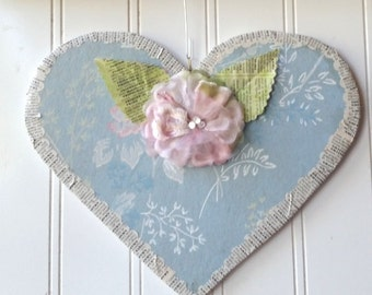 Pink blue floral Heart wall hanging ornament pale pink millinery flower vintage wallpaper French text Valentine Wedding decor