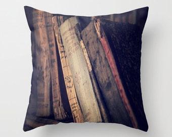 Old Books Throw Pillow, Leather Book Pillow, Patio Decorative Pillow, Vintage Book Decor, Library Decor, Antique Books, Dorm Pillow, Office