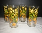Vintage Yellow and Green Floral with Hummingbird Libby Kitchen Drinking Tumbler Glasses Set of 4