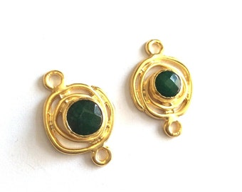 1pc- Matte Gold plated with Green  connector-35x24 mm