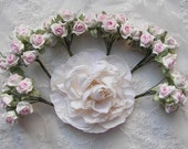 60pc Chic Ivory Polymer Clay PINK Satin Ribbon Wired Rose Flower Applique Embellishment