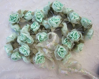 36 pc Chic Mint Green Satin Organza Ribbon Wired Rose Peony Flower Reborn Doll Bridal Wedding Bow Hair Accessory Applique